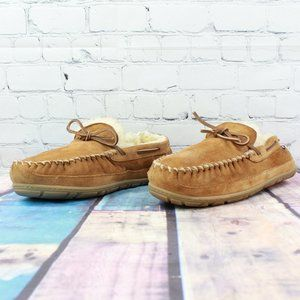 LL BEAN Wicked Good Lined Moccasin Slippers Sz 12